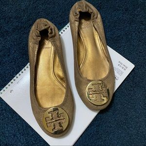 Tory Burch Metallic Gold/Brown Reva Flats